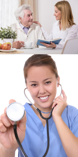 Caregiver and old man reading books, second image is a doctor holding a stethoscope